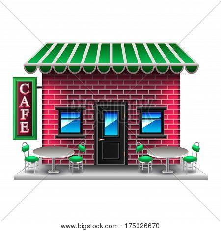 American-style cafe isolated on white photo-realistic vector illustration