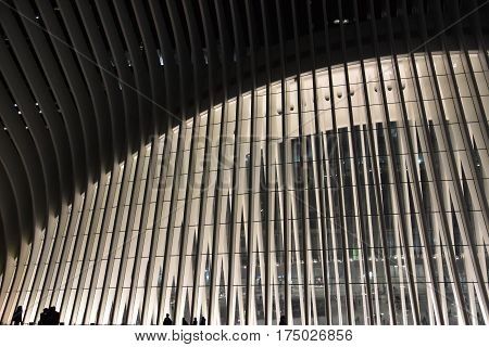 NEW YORK, NY - FEB 19: The Oculus of the Westfield World Trade Center Transportation Hub in New York, as seen on Feb 19, 2017. The mall opened on August 16, 2016.