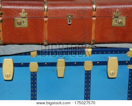 Vintage Luggage And A Suitcase In Leather For Travelers