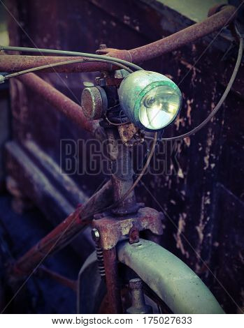 Rusty Bicycle With Headlight