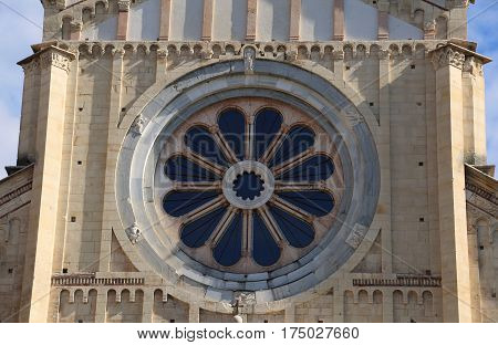 Rose Window Of The Basilica Of San Zeno In Verona With The Wheel