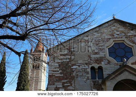 Ancient Basilica Of San Zeno In Verona In Northern Italy
