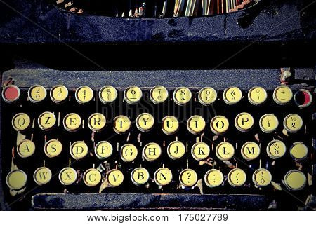 keyboard of a very antique typewriter for writers