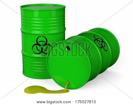Spilled green barrels with toxic waste isolated on white background 3D rendering