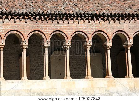 Ancient cloister of an ancient abbey in Europe