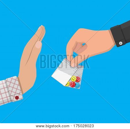 Hand of the drug dealer gives bag of narcotic pills and cocaine to other hand. Anti-drug concept. Rejection. Vector illustration in flat style poster
