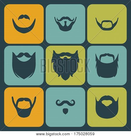 Vector icon set of different men beard, mustache in trendy flat style
