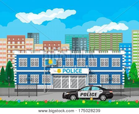 City police station biulding, car, tree, cityscape, flowers. Security cameras, flag with police symbol. Law, protection. Vector illustration in flat style