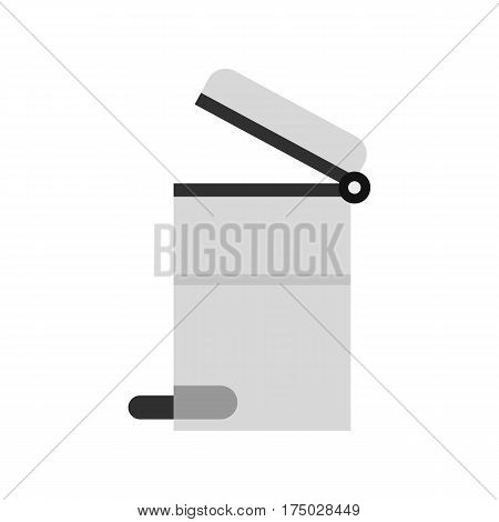 Steel trashcan icon isolated on white background vector illustration