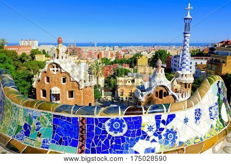 View Over The Beautiful Park Guell With Colorful Mosaic Wall, Barcelona, Spain