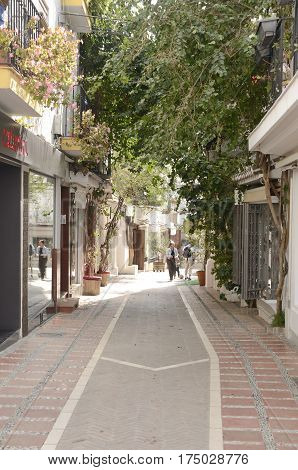 MARBELLA, SPAIN - FEBRUARY 27, 2017: Street of the historic center of Marbella a city of the province of Malaga Andalusia Spain.