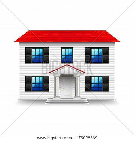 House with large black windows isolated photo-realistic vector illustration