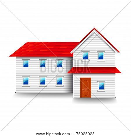 House with small windows isolated photo-realistic vector illustration
