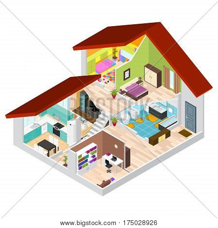 House in Cutaway Isometric View Basic Room of Apartment, Section Building with Furniture. Vector illustration