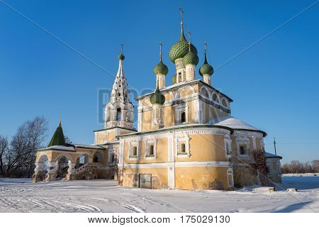 Church of St John the Baptist in Uglich in sunny winter day, Russia