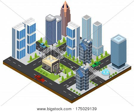 City Landscape Isometric View Part of the Map with Architecture of Buildings for Web and Game. Vector illustration