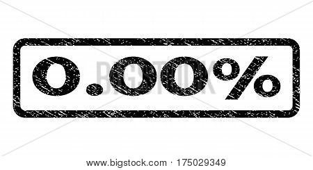 0.00 Percent watermark stamp. Text tag inside rounded rectangle frame with grunge design style. Rubber seal stamp with dust texture. Vector black ink imprint on a white background.