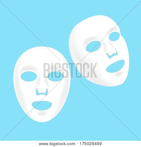 Cosmetic Facial Sheet Mask Set Beauty Product for Woman or Girl Skin Care. Vector illustration