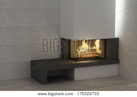 Respectable fireplace in the light home interior
