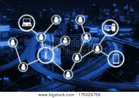 worldwide technology communication, network connection, social media and technology concept on night city background, color tone effect.