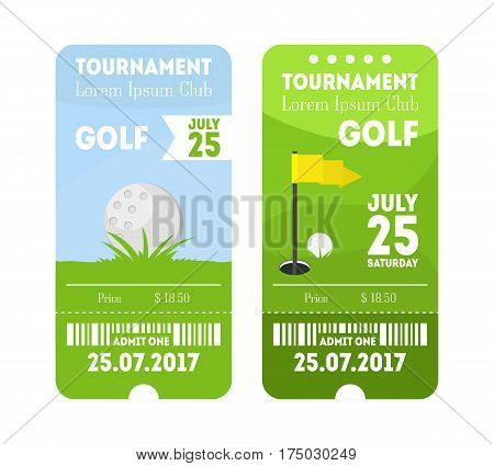 Cartoon Golf Sport Ticket Set Flat Design Style. Vertical Invitation for Events Vector illustration