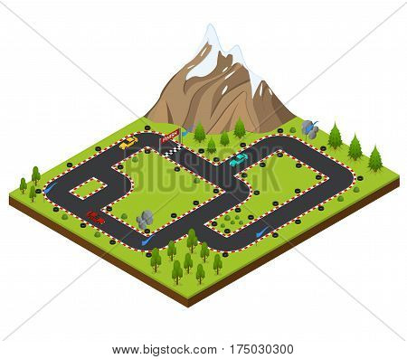 Track Racing Car Isometric View. Landscape with Trees and Mountain Vector illustration
