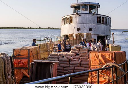 Rio Paraguay, Paraguay on August 7, 2015: The Aquidaban ship on it's journey on Rio Paraguay from Concepcion to Bahia Negra. The ship carries all kinds of goods and groceries.