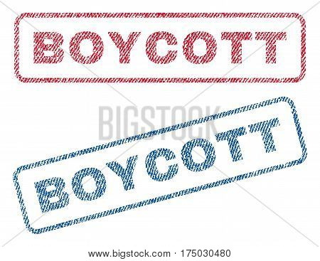 Boycott text textile seal stamp watermarks. Blue red fabric vectorized texture. Vector caption inside rounded rectangular banner. Rubber sign with fiber textile structure.