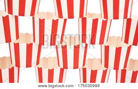 Red white striped paper cups stacked