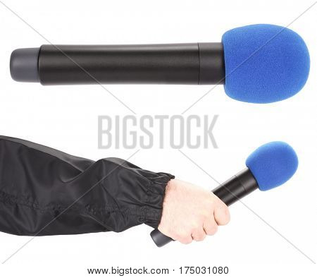 Journalist TV reporter hand hold red microphone for interview