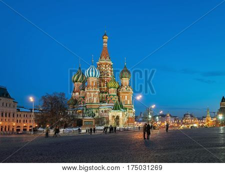 Illuminated Cathedral of Vasily the Blessed on the Red Square in Moscow in the winter evening, Russia