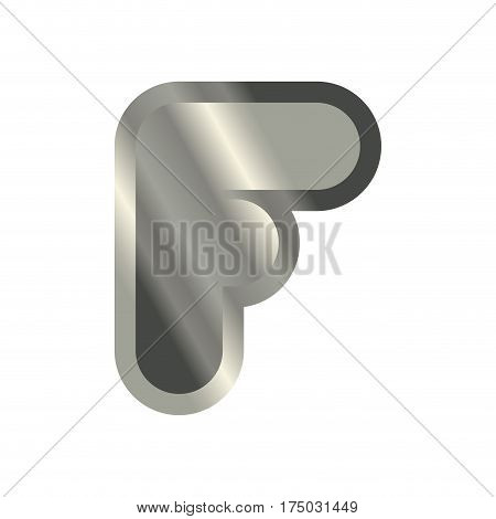 Letter F Steel Font. Metal Alphabet Sign. Iron Abc Symbol. Chromium Lettering. Silver Typography