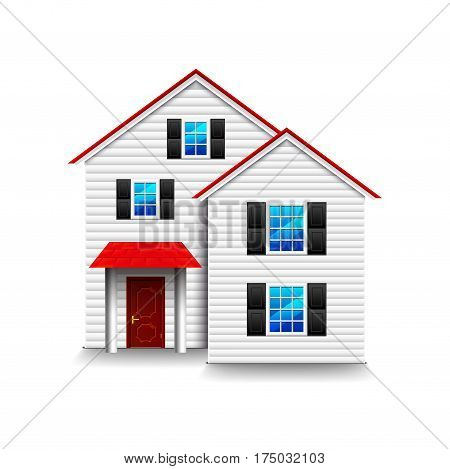 Small three-storey house isolated photo-realistic vector illustration