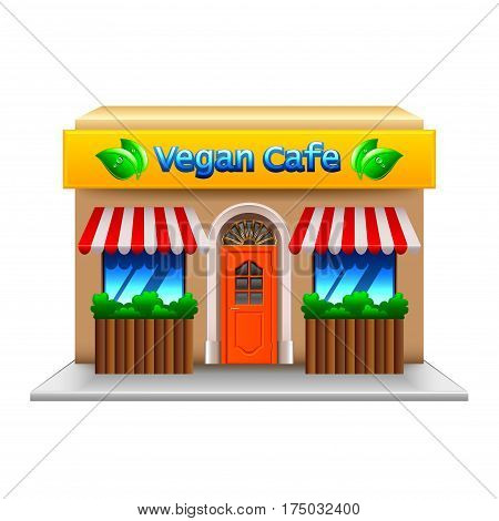 Vegetarian cafe isolated on white photo-realistic vector illustration