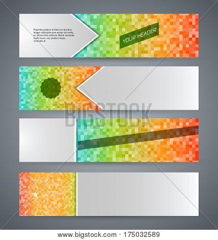 Set Banner Headline Horizontal Layout Mosaic Background05