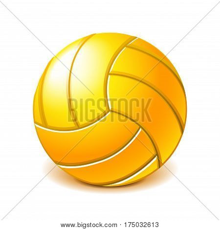 Yellow water polo ball isolated photo-realistic vector illustration