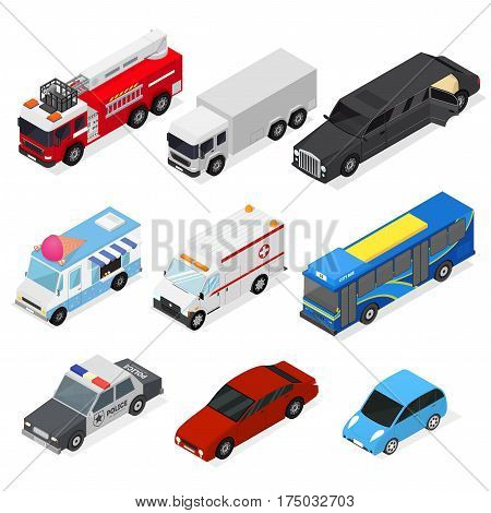 Different Cars Set Isometric View City Urban Transportation Service and Personal Auto. Vector illustration