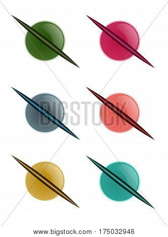Set of icons. Six multicolored planets. Vector illustration