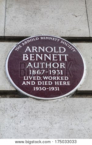 LONDON UK - FEBRUARY 16TH 2017: A plaque on Baker Street marking the location where famous author Arnold Bennett lived worked and died taken in in London on 16th February 2017.