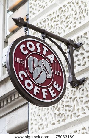 LONDON UK - FEBRUARY 16TH 2017: A sign for a Costa Coffee outlet in central London on 16th February 2017.