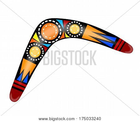 Australian boomerang. Cartoon boomerang on a white background. Vector illustration of colored tribal weapon. Stock vector