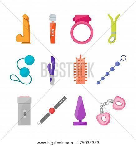 Cartoon Sex Toys Set for Intim Shop on a Light Background Flat Design Style. Bdsm Elements Vector illustration
