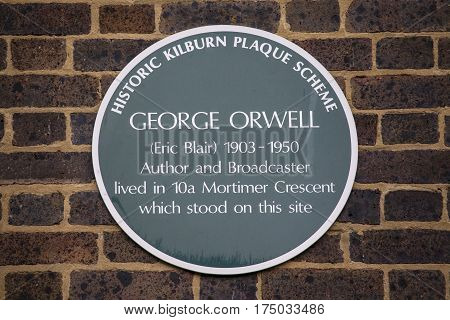 LONDON UK - FEBRUARY 16TH 2017: A plaque marking the location where famous author George Orwell once lived during his life taken on 16th February 2017.