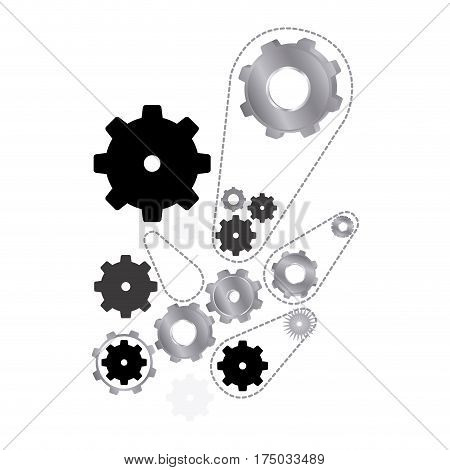 black and silver giars icon, vector illustraction design image