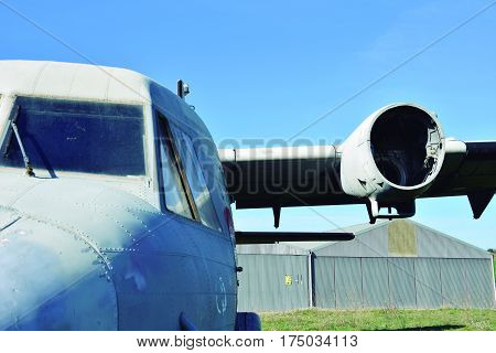 Two-engine airplane. Old plane waiting to be scrapped.