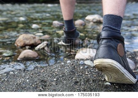 Man Hiking Outdoor Near River