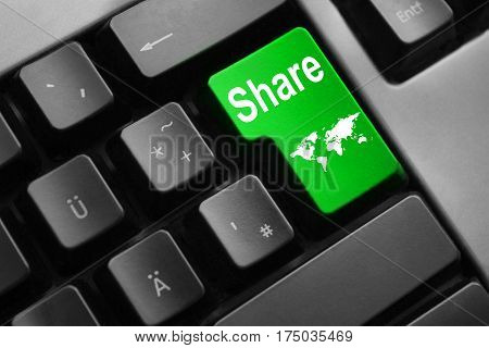 grey keyboard with green enter key share international trading
