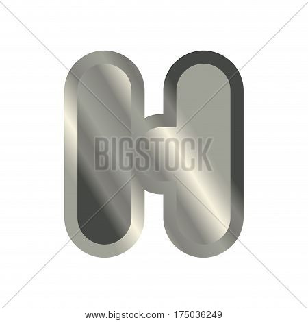 Letter H Steel Font. Metal Alphabet Sign. Iron Abc Symbol. Chromium Lettering. Silver Typography