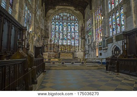 STRATFORD-UPON-AVON UK - MARCH 1ST 2017: An interior shot of the Church of the Holy Trinity in Stratford-Upon-Avon in the UK on 1st March 2017. It is the final resting place of William Shakespeare and Anne Hathaway.
