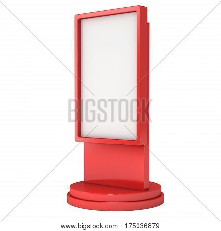 LCD Screen Stand. Red Trade Show Booth. 3d render of lcd screen isolated on white background. High Resolution. Ad template for your expo design.